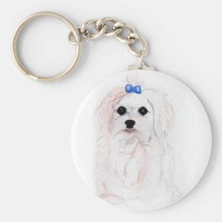 Maltese Puppy Keychain