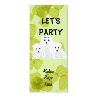 Maltese Puppy Kisses ~ Green Leaf Design Card