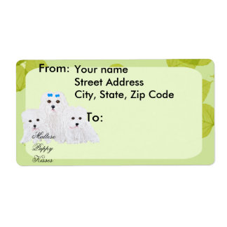 Maltese Puppy Kisses ~ Green Leaf Design Shipping Label