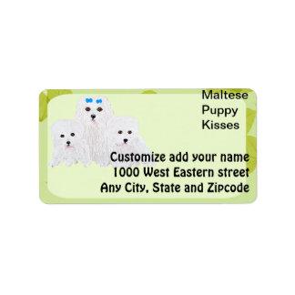 Maltese Puppy Kisses ~ Green Leaf Design Address Label
