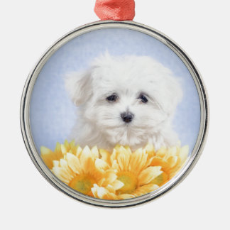Maltese puppy round metal christmas ornament