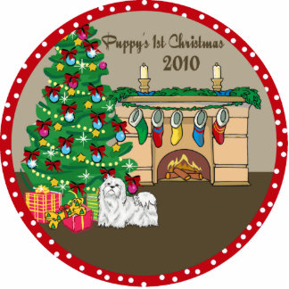 Maltese Puppy's 1st Christmas Ornament 2010