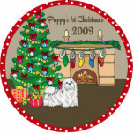 Maltese Puppy's First Christmas Ornament 2009 Photo Cut Out