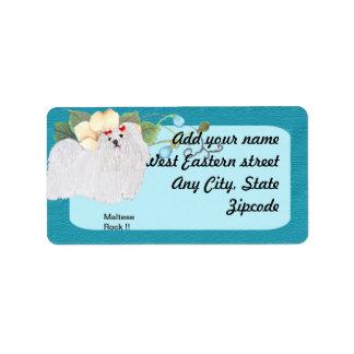 Maltese Rock !! - Turquoise Floral Design Address Label