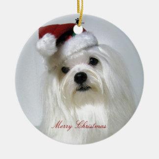 Maltese Santa Ornament