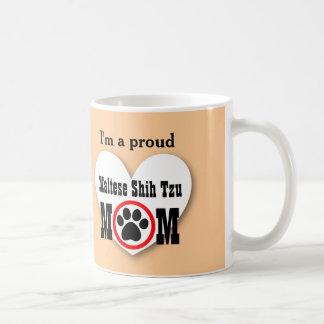 MALTESE SHIH TZU Mom Dog Lover Paw Print Gift B09 Classic White Coffee Mug