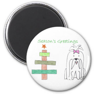 Maltese Stick Tree Magnet