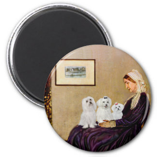 Maltese (three) - Whistlers Mother 2 Inch Round Magnet