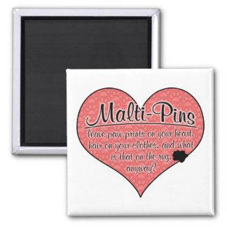 Malti-Pin Paw Prints Dog Humor 2 Inch Square Magnet