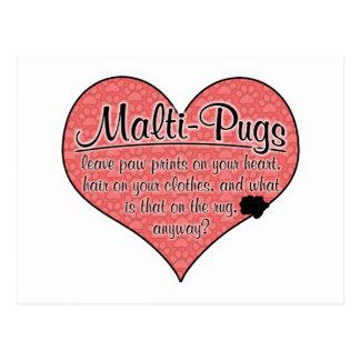 Malti-Pug Paw Prints Dog Humor Postcard