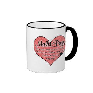 Malti-Pug Paw Prints Dog Humor Ringer Coffee Mug
