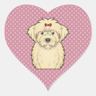 Maltipoo Cartoon Heart Sticker
