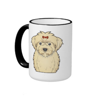 Maltipoo Cartoon Ringer Coffee Mug
