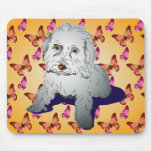 Maltipoo Cute Puppy on Butterfly Pattern Orange Mouse Pad