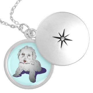 Maltipoo Cute Puppy Round Locket Necklace
