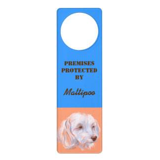 Maltipoo Dog Pastel Art Door Knob Hangers