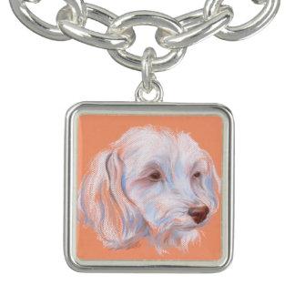 Maltipoo Dog Pastel Art Charm Bracelet