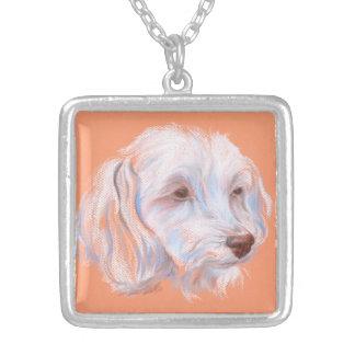 Maltipoo Dog Pastel Art Square Pendant Necklace