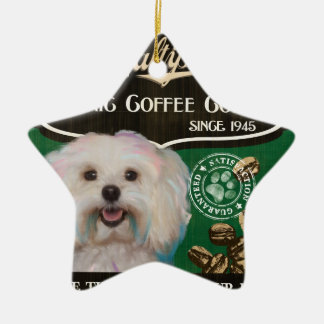 Maltipoo – Organic Coffee Company Double-Sided Star Ceramic Christmas Ornament
