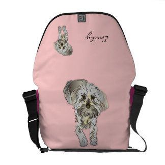 Maltipoo Puppy on Pink Personalized Courier Bag