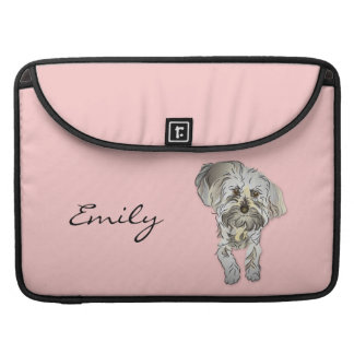 Maltipoo Puppy on Pink Personalized Sleeves For MacBooks