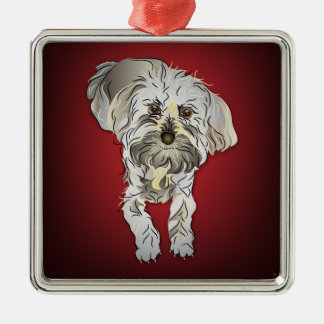 Maltipoo Puppy on Red Square Metal Christmas Ornament