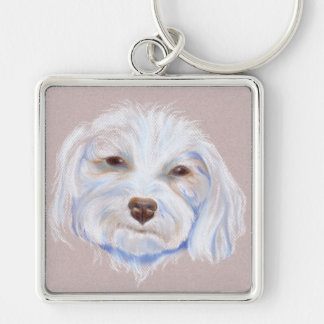 Maltipoo with an Attitude Silver-Colored Square Keychain