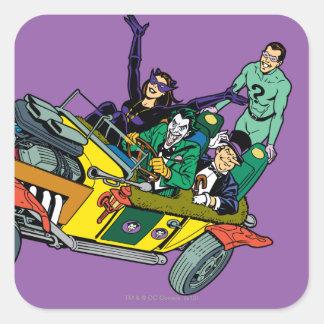 Malvados de Batman en Jokermobile Calcomanías Cuadradass Personalizadas