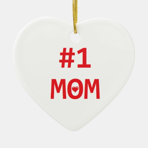 Mamá #1 adorno navideño de cerámica en forma de corazón
