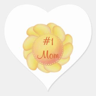 Mamá #1 (flores amarillas) colcomanias de corazon