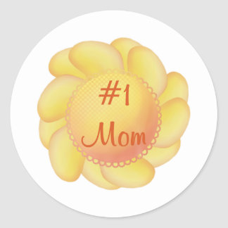 Mamá #1 (flores amarillas) pegatinas redondas