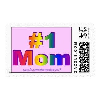 ¡Mamá #1! sellos del rosa de arco iris 3D