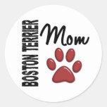 Mamá 2 de Boston Terrier Etiquetas Redondas