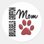 Mamá 2 de Bruselas Griffon Etiquetas Redondas