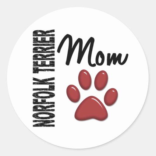 Mamá 2 de Norfolk Terrier Pegatina Redonda