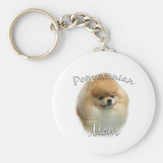 Mamá 2 de Pomeranian Llavero Redondo Tipo Pin