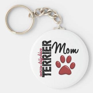 Mamá 2 de Staffordshire Terrier americano Llavero Redondo Tipo Pin