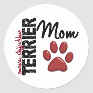 Mamá 2 de Staffordshire Terrier americano Pegatina Redonda