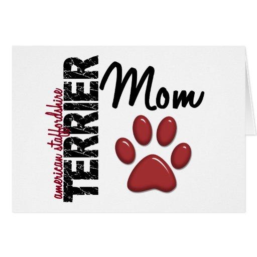 Mamá 2 de Staffordshire Terrier americano Tarjeta De Felicitación