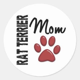 Mamá 2 de Terrier de rata Pegatina Redonda