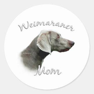 Mamá 2 de Weimaraner Pegatina Redonda