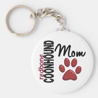 Mamá 2 del Coonhound de Redbone Llavero Redondo Tipo Pin