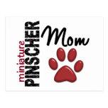 Mamá 2 del Pinscher miniatura Tarjeta Postal