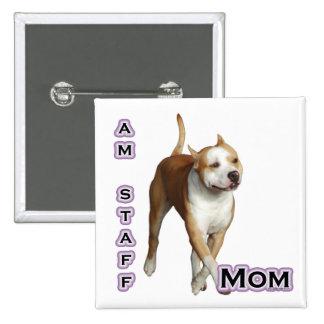 Mamá 4 de Staffordshire del americano - botón Pin