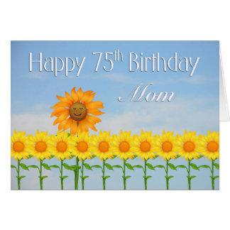 Mamá, 75.o cumpleaños, girasoles tarjeta de felicitación