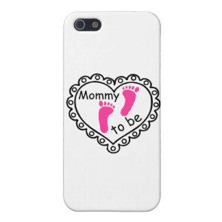 Mamá a ser corazón rosado de las huellas del chica iPhone 5 funda