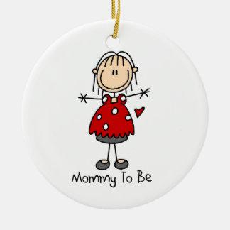 Mamá a ser ornamento del recuerdo adorno navideño redondo de cerámica