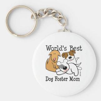 Mamá adoptiva del mejor perro del mundo llavero redondo tipo pin