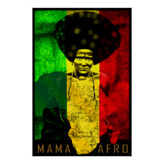 Mama Afro Africa Map Reggae Art Print