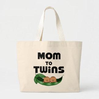 Mamá afroamericana a los gemelos bolsa tela grande
